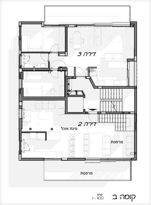 תוכנית הקומה השנייה בבניין (תוכנית: לבב שחר)