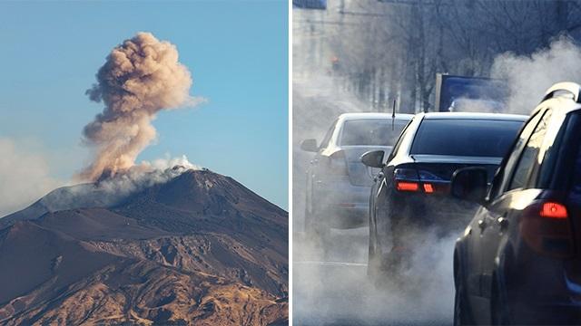 זיהום אוויר מול הר געש (צילום: shuttersotck)