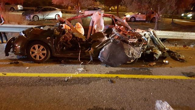 זירת תאונת הדרכים בכביש 784 סמוך לכרמיאל (צילום: דוברות כבאות והצלה)