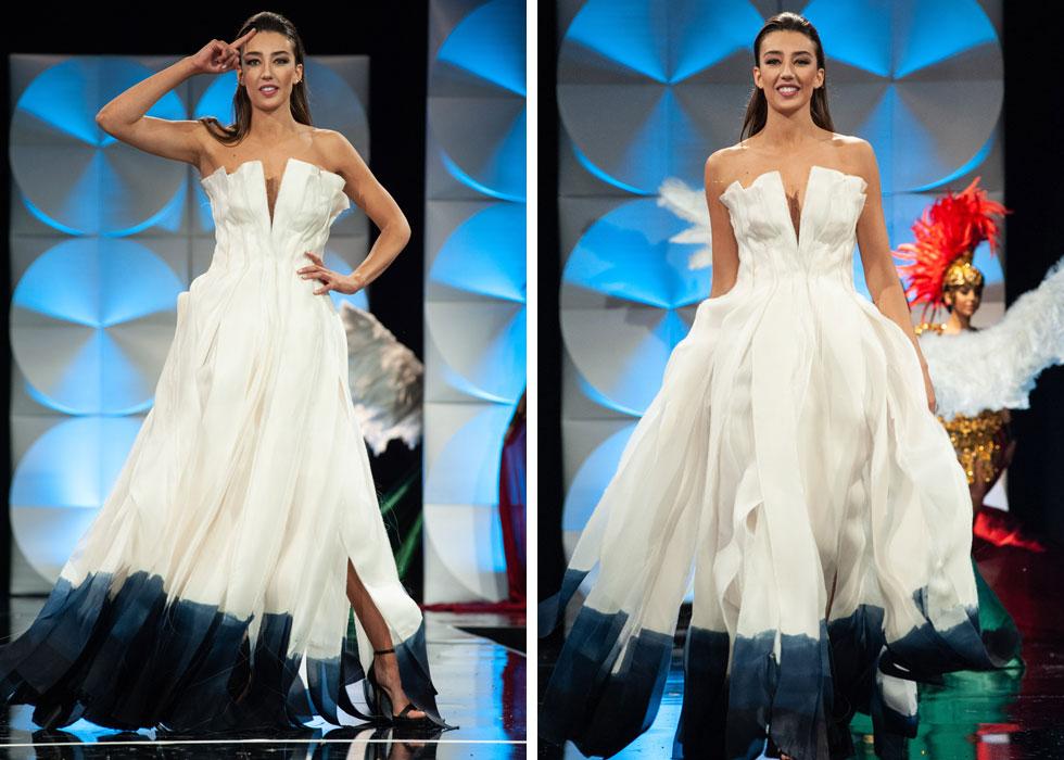 """מלכת היופי שלנו סלע שרלין עם השמלה הלאומית """"פיסות של תקווה"""", בעיצובו של שי שלום. משמאל: """"תקווה"""" בשפת הסימנים   (צילום: Patrick Prather, Miss Universe)"""