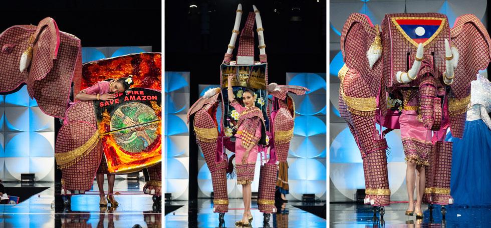 מיס לאוס עם הקונסטרוקציה המורכבת של הערב - יוצאת מתוך פיל גדול  (צילום: Patrick Prather, Miss Universe)