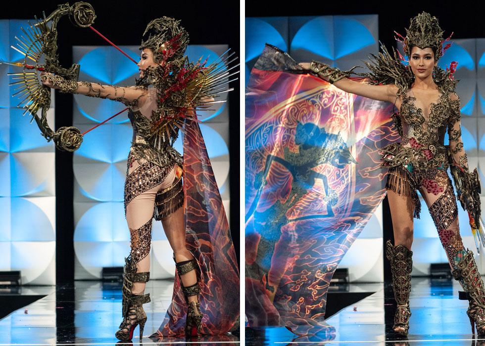 הוונדרוומן של הערב. מיס אינדונזיה עם חץ וקשת  (צילום: Patrick Prather, Miss Universe)