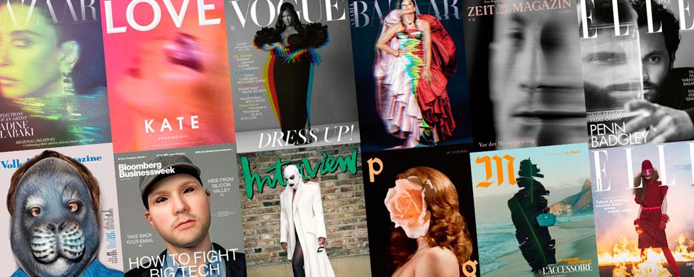 בשורה הראשונה שערים של Hapers Bazaar, Love, Vogue, Zeit, Elle עם מגמת הטשטוש והערפול הדומיננטית, אל מול השערים בשורה התחתונה: volkskrant, Bloomberg Businessweek, Interview, Pleasure Garden, Le Monde, Elle - שמציגים מסכות והסתרות גוף