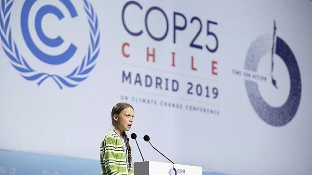 גרטה טונברג בנאומה בוועידה (צילום: Getty Images)