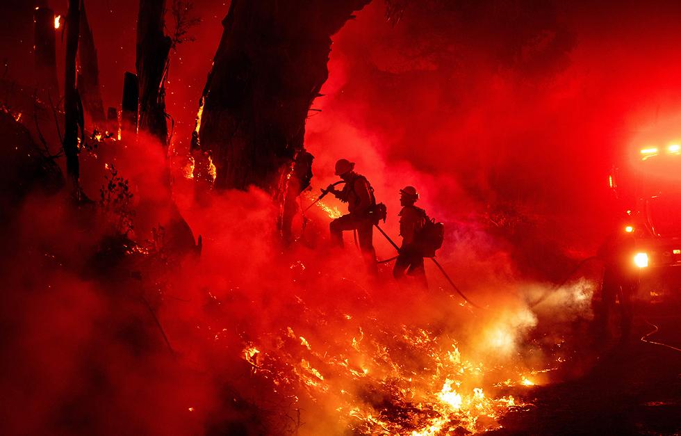 תמונות השנה AFP כבאים שריפה סנטה פאולה קליפורניה (צילום: AFP)