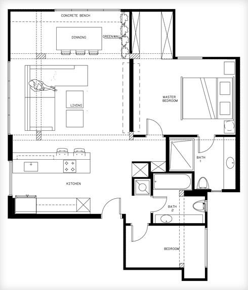 ואחרי. סלון ומטבח משמאל, חדרי שינה מימין (תוכנית: שלומית גליקס)