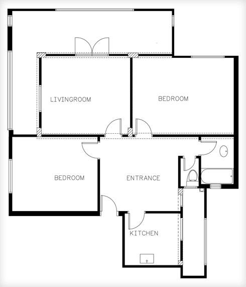 תוכנית הדירה המקורית: חדרים סביב מבואה (תוכנית: שלומית גליקס)