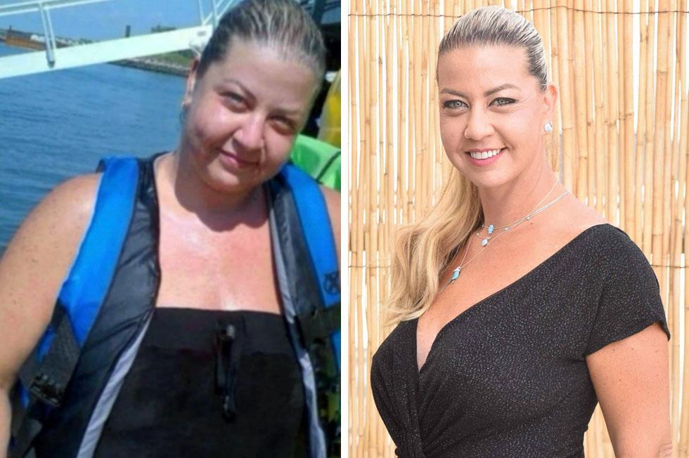 ליאתי וינקלשטיין לפני ואחרי הירידה במשקל.  (צילומים: שרון צור, אלבום פרטי)