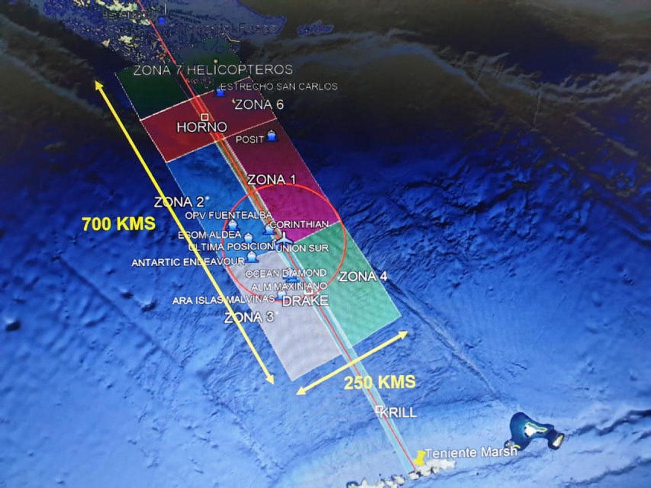 צילום לוויין אזור החיפושים אחר המטוס של צבא צ'ילה ש התרסק התרסקות בדרך ל אנטרקטיקה אנטארקטיקה (צילום: EPA)