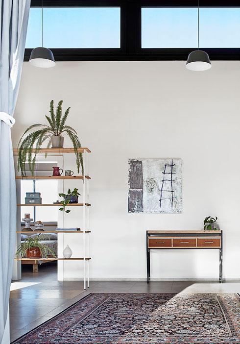 על הקיר שמפריד בין החלק הציבורי לפרטי נשענת שידה מעשה ידיו של בעל הבית. מעליה עבודת אמנות של אביבית בלס (צילום: שי גיל)