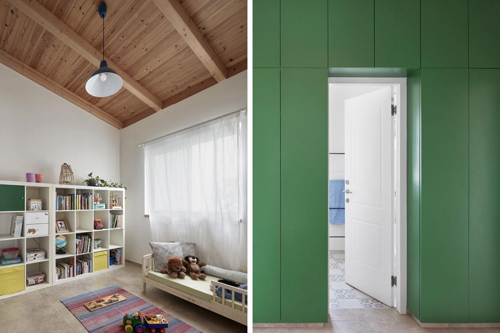 מימין: ארון גדול מחליף את הקיר שבין חדר הרחצה לכניסות לחדרי הילדים. משמאל: הגובה יאפשר לבנות קומת גלריה, אם יתעורר הצורך (צילום: שי גיל)