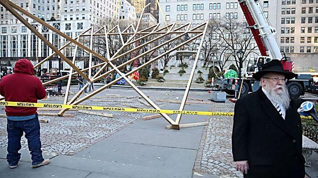 חנוכיית הענק במנהטן (צילום: איציק רויטמן )