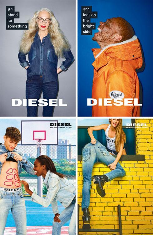 דיזל, אחת החברות הבועטות בעולם, בעד מגוון של צבע, מין וגיל. עם המידות הם עדיין לא יישרו קו  (צילום: דיזל)