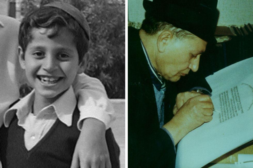 """מימין: האב, הרב אליהו ביטון ז""""ל. משמאל: גדי ביטון בגיל עשר. למטה: סרט תיעודי שנעשה עליו"""