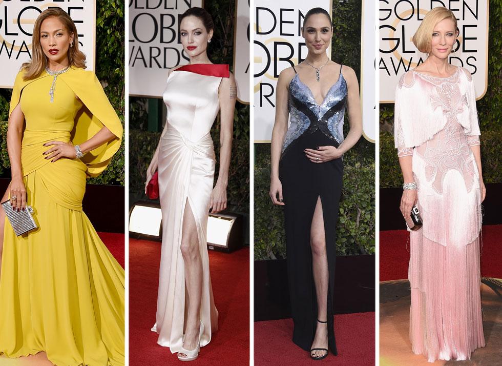 גלובוס הזהב ידוע כיריית הפתיחה לעונת טקסים מלאה בשמלות נוצצות. קייט בלאנשט, גל גדות, אנג'לינה ג'ולי וג'ניפר לופז (צילום: Gettyimages/AP)