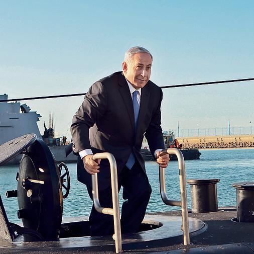 """נתניהו על צוללת של חיל הים. """"לא מתעסק בזה""""   צילום: אלעד גרשגורן"""