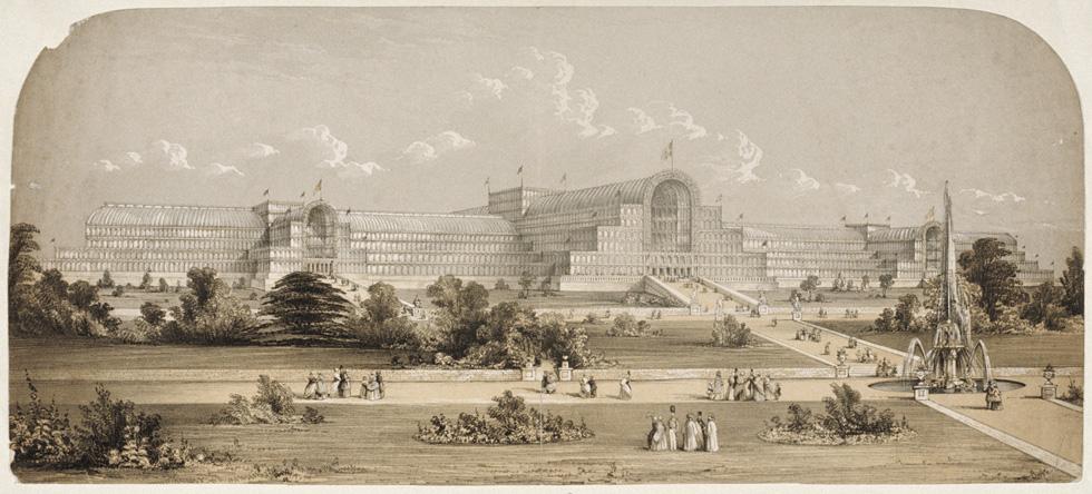 שמונה חודשים עברו מאז החל ג'וזף פקסטון הבריטי לתכנן את ''ארמון הבדולח'', שיועד לתערוכה הבינלאומית הראשונה של מוצרים בייצור תעשייתי (1851), ועד שהמבנה העצום והמורכב עמד בהייד פארק הלונדוני (צילום: Hulton Archive/GettyimagesIL)