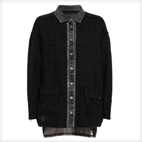 חולצה מבד טוויד מסורתי בשילוב דנים ונצנוצים