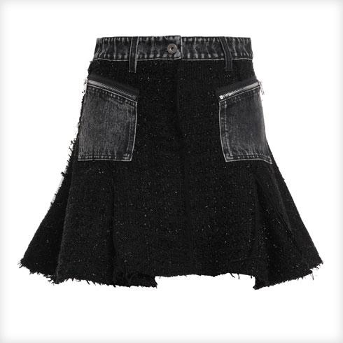 חצאית מבד טוויד עם כיסי ג'ינס. מאסט בארון שלך!