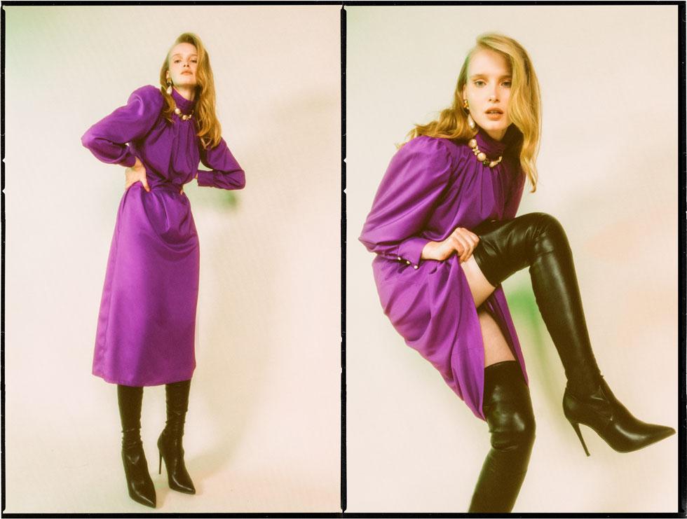 שמלה, רוחמה | עגילים ושרשרת – לוני וינטג' | נעליים, סטיב מאדן  (צילום: עדי סגל)