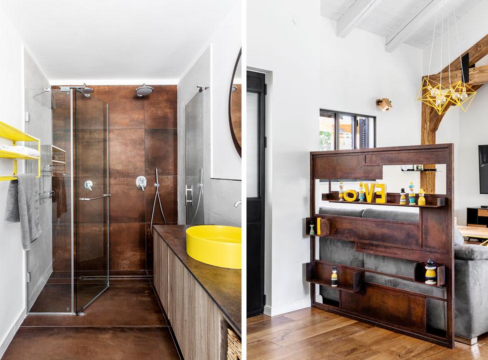 צבע החלודה חוזר בבית. למשל, באלמנט ההפרדה בסלון (בתמונה מימין) ובאריחי הקיר שנבחרו לחדר הרחצה של ההורים (משמאל) (צילום: איתי בנית)