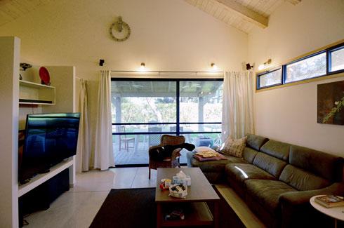 את הספה יואב לא הסכים להחליף, והיא נמצאת גם בסלון החדש (צילום: כפיר וקס)