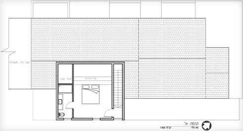 החדר שנוסף בקומה עליונה (תוכנית: אדריכל כפיר וקס, מרב זהר)
