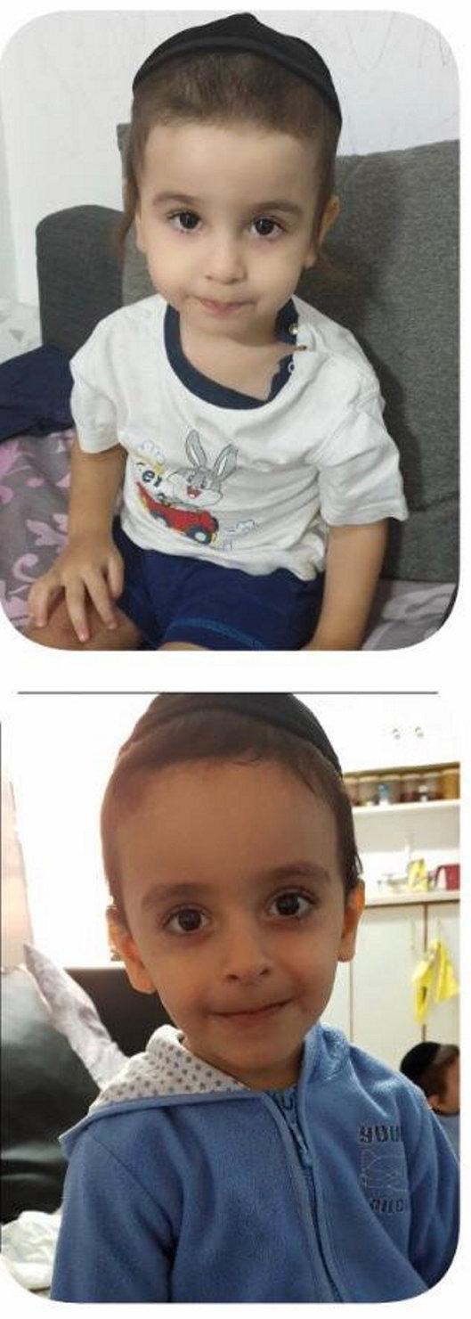 האחים אוחנה: רפאל בן 5 )מלמטה( ואלעזר בן 3 שנספו בשריפה בביתם בנתניה בחודש נובמבר