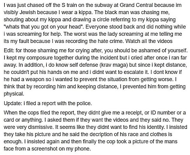 """הרצפלד פירסם את המקרה בעמוד הפייסבוק שלו (מתוך """"פייסבוק"""")"""