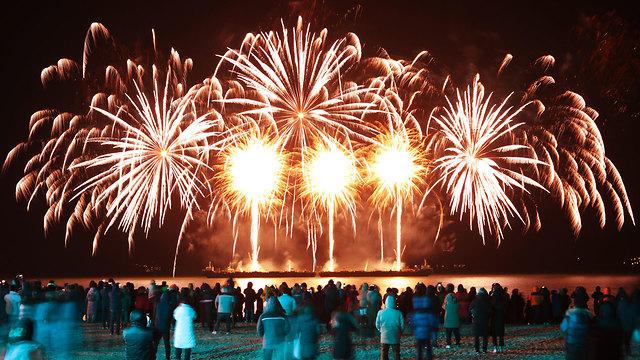 חגיגות השנה החדשה 2020 בייג'ינג סין (צילום: AP)