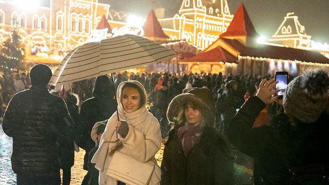 חגיגות השנה החדשה 2020 מוסקבה רוסיה (צילום: AP)