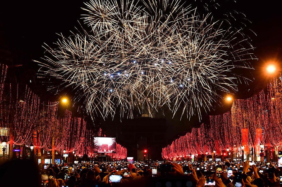 חגיגות השנה החדשה שנה אזרחית חדשה 2020 פריז  זיקוקים (צילום: AFP)