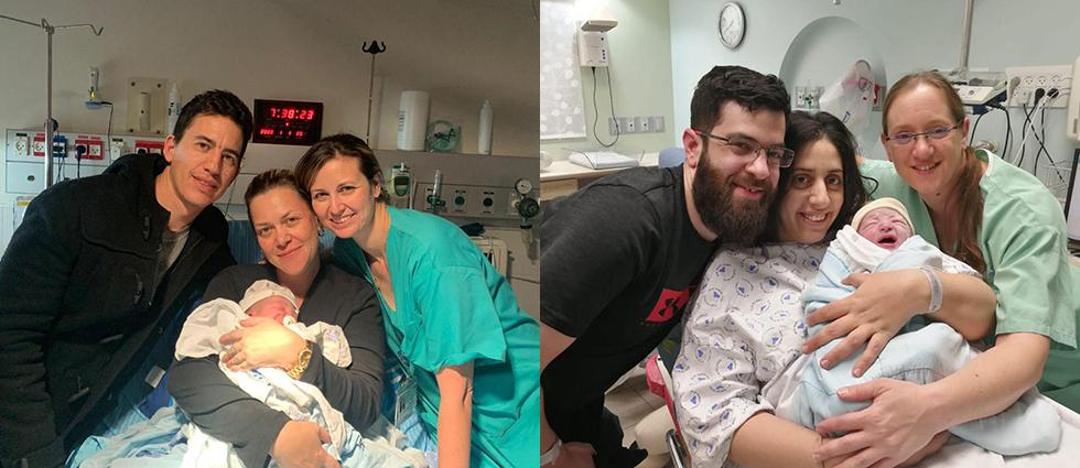 מימין: מיכל כרמי מוזס, היולדת הראשונה באיכילוב ועירית ואלן מאשדוד במרכז הרפואי שיבא