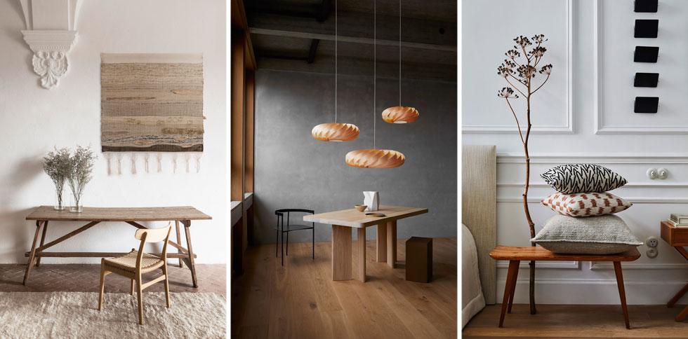 עיצוב טבעוני, גווני אדמה וגופי תאורה מעץ  (צילומים: טולמנ'ס, RENBY, כלי-אור)