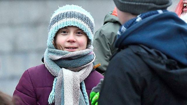 מפגינה גם ביום ההולדת. גרטה טונברג (צילום: AFP)