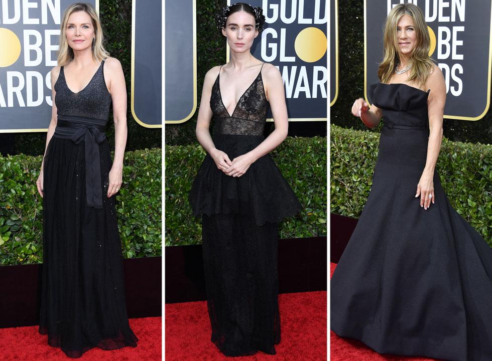 שמלה שחורה היא עמדה, סדר יום, הלך רוח. אלגנטיות על-זמנית שלא מאפשרת לטעות גם באירוע עמוס כוכבות. מישל פייפר בחרה מראה מינימליסטי וסקסי שלא לוקח את עצמו ברצינות, ג'ניפר אניסטון בקאמבק נהדר לבושה שמלת ערב של דיור הוט קוטור ורוני מארה, קיפודית בדרכה, בז'יבנשי הוט קוטור (צילום: Jon Kopaloff, Frazer Harrison/GettyimagesIL)