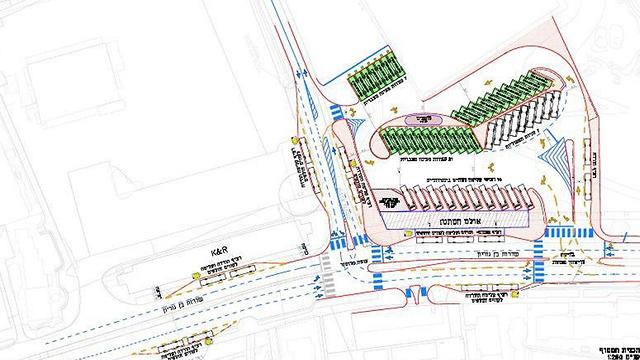 שרטוט שינוי תנועה תחנה מרכזית חדשה עריית אשקלון (צילום: עריית אשקלון)