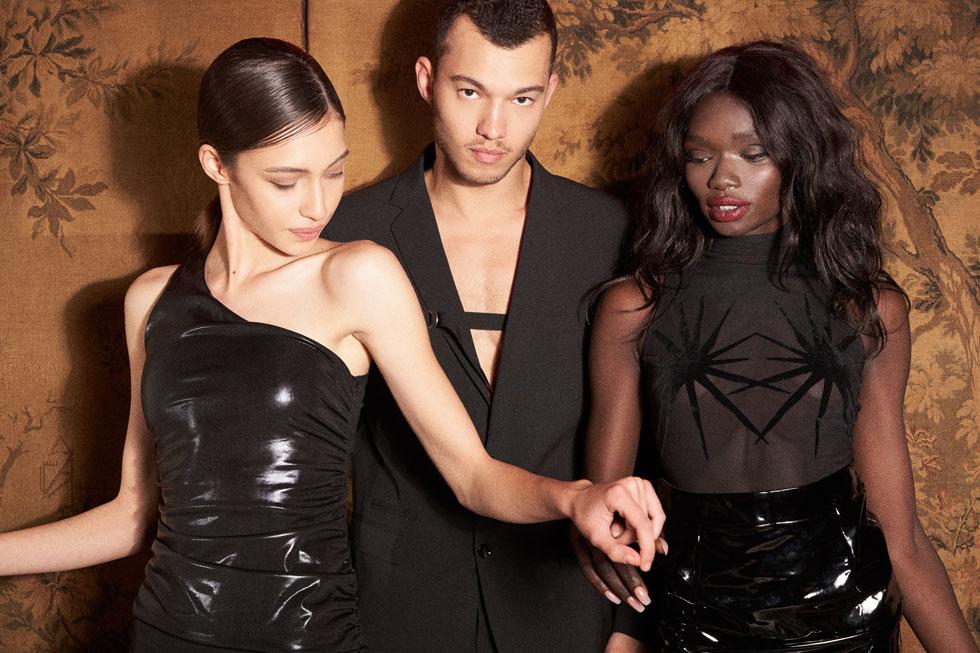 מוניקה בבגד גוף, דיזל | חצאית, Guess. רועי בחליפה, דיזל. רנטה בשמלה, Bo-e  (צילום: רחלי פרידמן)
