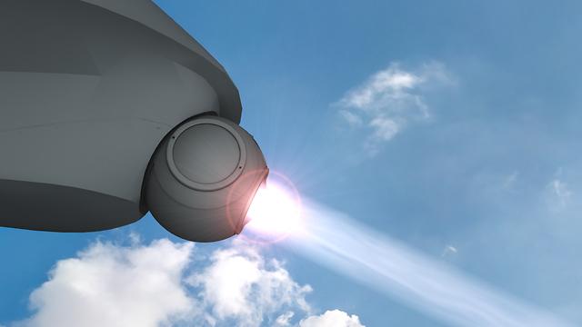 הדמיית פעילות לייזר ליירוט רקטות וטילים (צילום: אגף דוברות והסברה, משרד הביטחון)