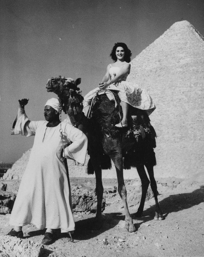 דלידה רוכבת על גמל בין הפירמידות בגיזה, מצרים, 1959. כבר בלידתה בקהיר היא הייתה קרובה למוות (צילום: AP)