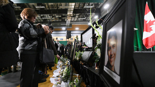 ראש ממשלת קנדה ג'סטין טרודו בטקס לזכר הנספים בהתרסקות המטוס האוקראיני (צילום: רויטרס)