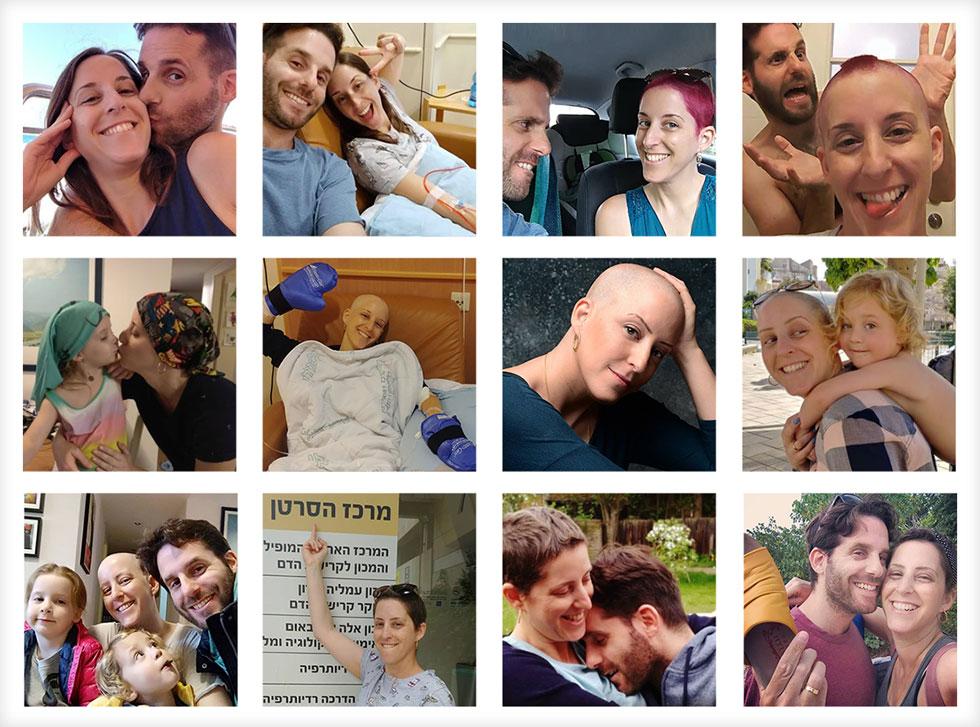 """תמונות מתקופת המחלה. """"אני הולכת לכסח לסרטן הזה את הצורה"""" (צילום: דדי ירון)"""
