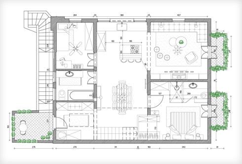 המפלס העיקרי של הדירה (ללא הגלריה) (תוכנית: סמי שלום כנפו)