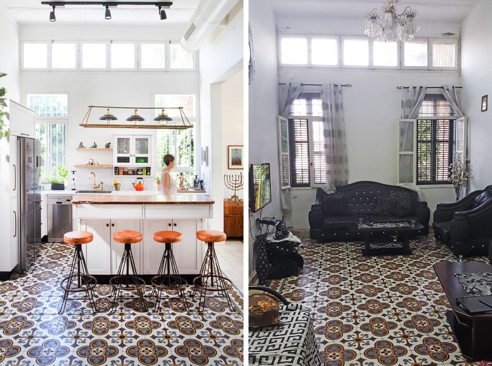 מימין: החלל המרכזי של הדירה, לפני השיפוץ. משמאל: את המטבח החדש עשה אחיו של בעל הבית, שהוא נגר אמן. דלפק האי עשוי מפלטה של אלון אנגלי בן 400 שנה (צילומים: סמי שלום כנפו, סוזי לוינסון)