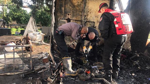 חקירת השריפה בגולן (צילום: תיעוד מבצעי כבאות והצלה מחוז צפון)