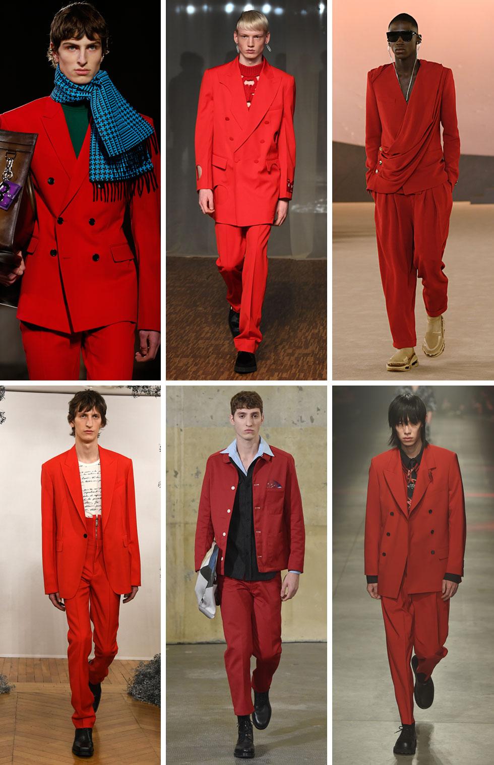 הגיבורה המרכזית של שבועות האופנה לגברים היתה חליפת מכנסיים אדומה. עם כפתרה כפולה או כפתור יחיד, בגזרה נינוחה או במראה צר והדוק, בטוטאל לוק אדום או בשילוב בלוקים של צבע, החליפה האדומה כיכבה בקולקציות של ז'יבנשי, בלמן, אוף/ווייט, MSGM ואחרים, מסמנת את הצבע הבולט לחורף הבא (צילום: Tullio M. Puglia,Pascal Le Segretain, Thierry Chesnot/GettyimagesIL)