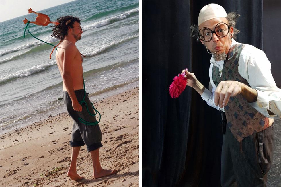 """אזרין על הבמה (מימין) ומטייל על החוף. """"החומרים שמהם האמן עשוי הם החוויות שהוא עבר בדרך""""  (צילומים: מאיה גינזבורג, סרגיי קופלוב)"""