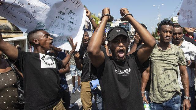 הפגנת האתיופים (צילום: גיל נחושתן)