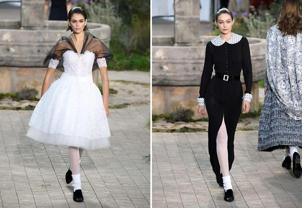 מבין כל הדוגמניות היפות שצעדו בתצוגה של שאנל, אי אפשר היה להתעלם מג'יג'י חדיד בשמלה שחלקה העליון משדר צניעות אך היא מצוידת בשסע עמוק; ומקאיה גרבר, שצעדה בשמלת תחרה לבנה עם מעין גלימה קצרה, שחורה ושקופה  (צילום: Pascal Le Segretain/GettyimagesIL)
