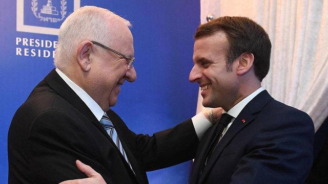ארוחת ערב ב בית הנשיא נשיא המדינה ראובן ריבלין ו עמנואל מקרון נשיא צרפת (צילום: לע